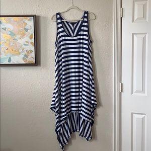 BCBG Navy Blue & White Striped Dress W/ Sharkbite
